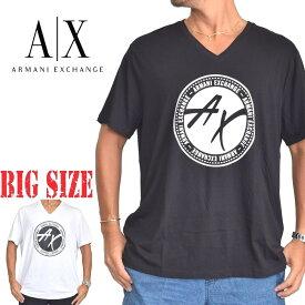 アルマーニエクスチェンジ A/X ARMANI EXCHANGE ロゴプリント Vネック 半袖Tシャツ REGULAR FIT 黒 ブラック XL XXL 大きいサイズ メンズ あす楽