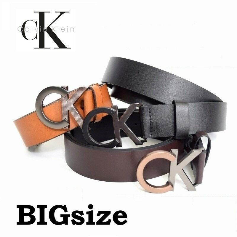 大きいサイズ メンズ カルバンクライン Calvin Klein CK バックル レザーベルト 本皮 40 42インチ