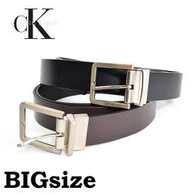 CK カルバンクライン Calvin Klein リバーシブル レザーベルト 本皮 黒 ブラック 茶色 ブラウン 38 40 42インチ 大きいサイズ メンズ あす楽