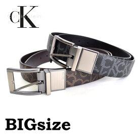 CK カルバンクライン Calvin Klein リバーシブル モノグラム柄 本皮 黒 ブラック 茶色 ブラウン 38 40 42インチ 大きいサイズ メンズ あす楽