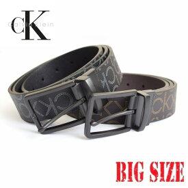 CK カルバンクライン Calvin Klein リバーシブル モノグラム柄 本皮 黒 ブラック 茶色 ブラウン 38 40 42インチ 大きいサイズメンズ あす楽