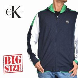 CK カルバンクラインジーンズ Calvin Klein パーカー ワンポイント フルジップ スウエット 裏起毛 ネイビー XL XXL 大きいサイズ メンズ あす楽