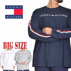 トミーヒルフィガー長袖Tシャツ ロンT サイドテープ トップス カットソー ネイビー グレー 白 TOMMY HILFIGER DENIM XL XXL 大きいサイズ メンズ あす楽