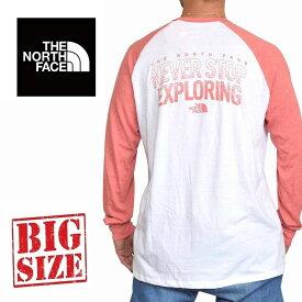 ノースフェイス THE NORTH FACE ロンT 長袖 Tシャツ バックプリント ラグラン ストレッチ ベースボール USAモデル STANDARD FIT 白 ピンク XL XXL 大きいサイズ メンズ あす楽