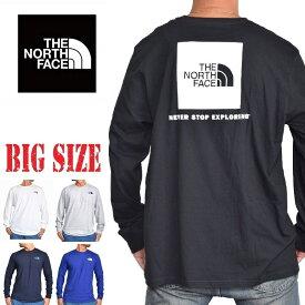 ノースフェイス ロンT 長袖 Tシャツ ボックスロゴ バックプリント USAモデル STANDARD FIT THE NORTH FACE M L XL XXL XXXL 大きいサイズ メンズ あす楽