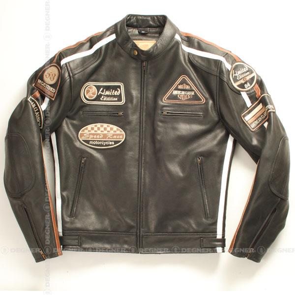 バイク ジャケット シングルライダース 本革 メンズ レザー 牛革 プロテクター 肩 ヒジ 背中 パッド ワッペン ヴィンテージ DEGNER デグナー 送料無料 サイズ交換 13WJ-1B ブラック デグナー