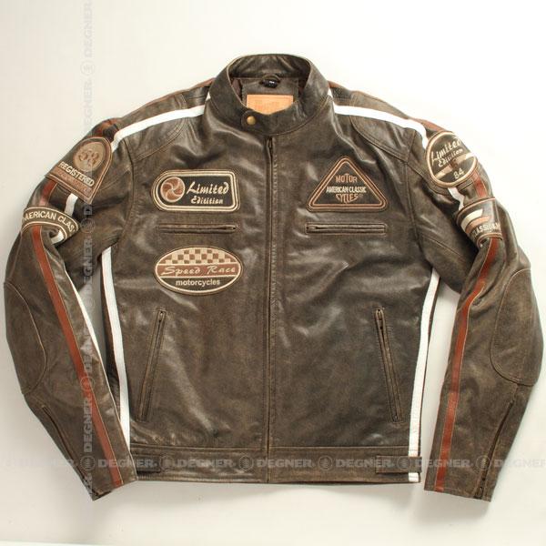 バイク ジャケット シングルライダース 本革 メンズ レザー 牛革 プロテクター 肩 ヒジ 背中 パッド ワッペン ヴィンテージ DEGNER デグナー 13WJ-1B(ブラウン) 送料無料 サイズ交換 ブラウン 13WJ-1B デグナー