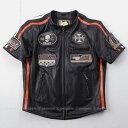 バイク メッシュジャケット 本革 ライダースジャケット ハーフスリーブ 夏 パッド DEGNER デグナー 15SJ-1