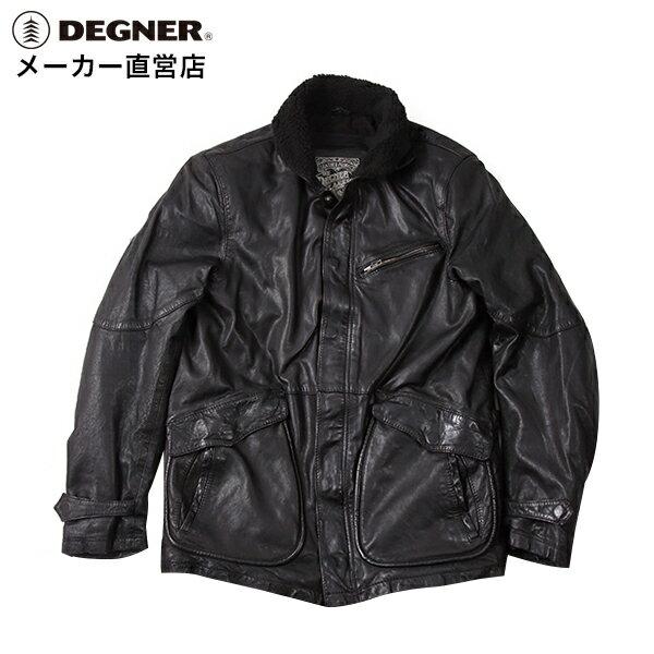 バイク ジャケット N-1 本革 メンズ レザー 羊革 プロテクター 肩 ヒジ 背中 パッド デッキジャケット レザーデッキ DEGNER デグナー 送料無料 サイズ交換 17WJ-5 ブラック デグナー