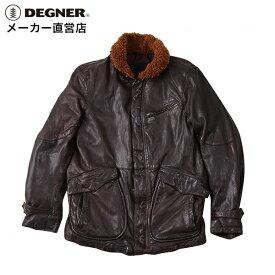 デグナー DEGNER N-1 レザーデッキジャケット 17WJ-5 メンズ 本革 羊革 プロテクター ブラウン
