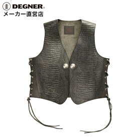 デグナー DEGNER クロコダイル柄レザーベスト 4WV-13CR メンズ ブラック