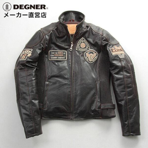 レザージャケット レディース 本革 防寒 バイク ジャケット ライダース ジャケット レザージャケット 防風 デグナー DEGNER DG16WJ-6 オールドブラウン