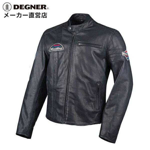 デグナー メンズ メッシュ レザー ジャケット 男性 パンチングレザー 本革 革ジャン プロテクター 18SJ-7(ブラック) 送料無料