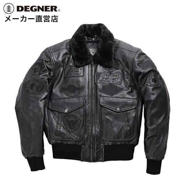 フライトジャケット G-1 レザージャケット 革ジャン バイク 冬 防風 防寒 メンズ ヴィンテージ ダブル ライダースジャケット トップガン 本革 フライト ヴィンテージ LEATHER JACKET 黒 ブラック 送料無料 DEGNER デグナー 16WJ-10C