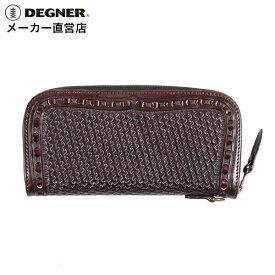 デグナー DEGNER レザーロングウォレット W-87P ブラウン カービング 財布 長財布