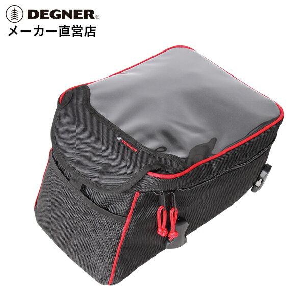 デグナー DEGNER ベルト式タンクバッグ NB-141 レッドパイピング 安定感抜群 取り付け簡単 B5マップル対応 スマホ ホルダー