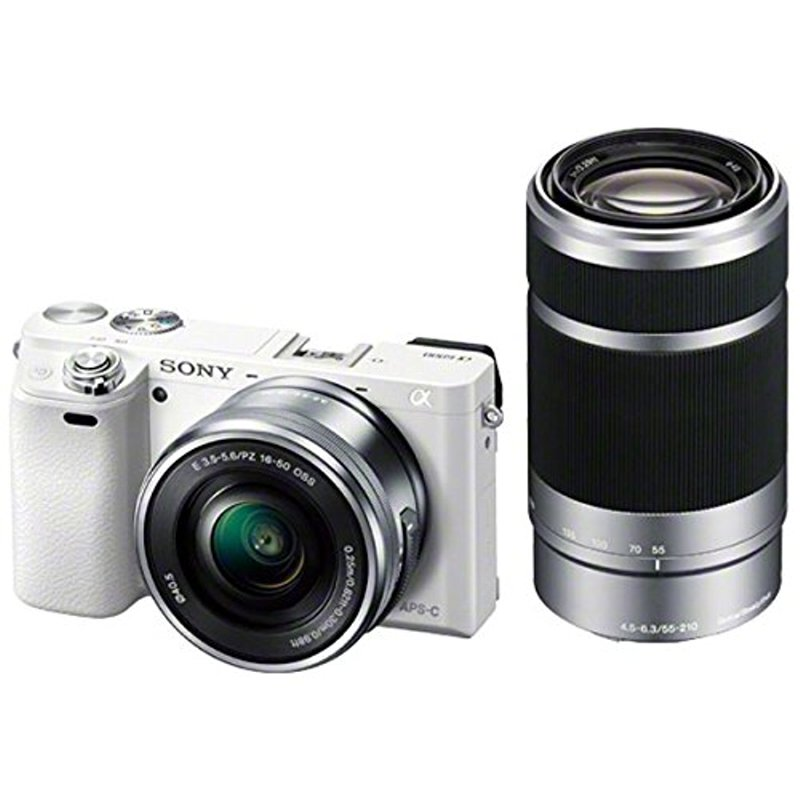 (お取り寄せ:納期目安3週間〜)SONY ミラーレス一眼 α6000 ダブルズームレンズキット E PZ 16-50mm F3.5-5.6 OSS + E 55-210mm F4.5-6.3 OSS付属 ホワイト ILCE-6000Y-W