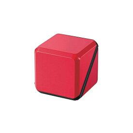 (在庫あり:最終処分)エレコム コンパクトスピーカー キューブ型 300mW×2 電池式 ブラック×レッド ASP-SMP220BRD