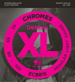 D'Addario ECB81S ダダリオ フラットトワウンドベース弦 ショートスケール XL Chromes Flat Wound