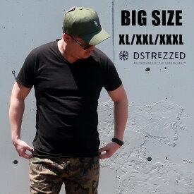 送料無料 メンズ 大きいサイズ Tシャツ ブランド 半袖 XL XXL XXXL 3L 4L 無地 シンプル vネック 白 黒 ホワイト ブラック カーキ 春 夏 秋 インポート 海外ブランド DSTREZZED カジュアル アメカジ ストリート 大人 30代 40代 50代 202386