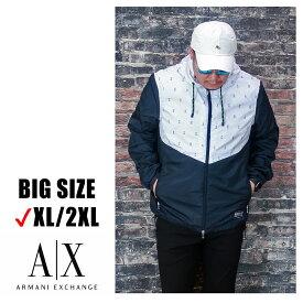 送料無料 メンズ 大きいサイズ アルマーニ ARMANI パーカー ブランド XL XXL 2L 3L アウター ジップ ナイロン ライトアウター 機能性素材 プリント フード 長袖 バイカラー シングルブレスト 裏地あり ロゴ入り 大人 30代 40代 50代