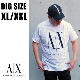 送料無料 メンズ 大きいサイズ ブランド Tシャツ ARMANI 半袖 XL XXL 2L 3L 白 ホワイト プリント Uネック 丸襟 丸首 カットソー 大人 30代 40代 50代