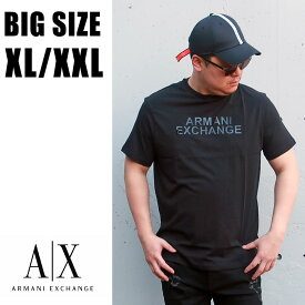 送料無料 メンズ 大きいサイズ ブランド Tシャツ ARMANI 半袖 XL XXL 2L 3L 白 黒 ホワイト ブラック プリント Uネック 丸襟 丸首 カットソー エンボス ラバープリント 大人 30代 40代 50代