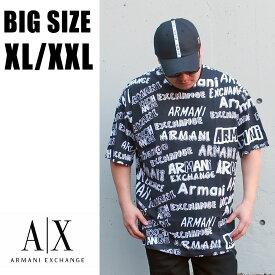 送料無料 メンズ 大きいサイズ ブランド Tシャツ ARMANI 半袖 XL XXL 2L 3L 白 黒 ホワイト ブラック プリント Uネック 丸襟 丸首 カットソー ビックシルエット オーバーサイズ 総柄 ロゴ 大人 30代 40代 50代
