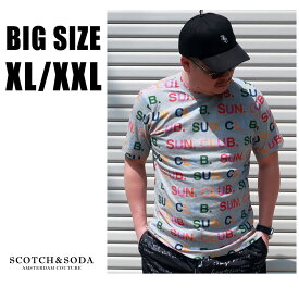 SCOTCH&SODA 送料無料 大きいサイズ メンズ ブランド Tシャツ 半袖 XL XXL 2L 3L グレー ロゴ クルー プリント ワンポイント 春 夏 リゾート 大人 30代 40代 50代 スコッチアンドソーダ 292-74442