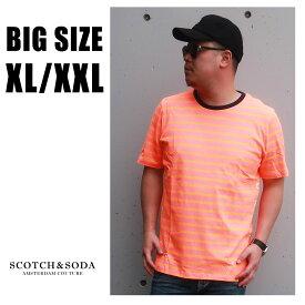 SCOTCH&SODA 送料無料 大きいサイズ メンズ ブランド Tシャツ 半袖 XL XXL 2L 3L オレンジ ボーダー クルー プリント 春 夏 リゾート 大人 30代 40代 50代 スコッチアンドソーダ 292-74459