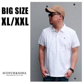 SCOTCH&SODA 送料無料 大きいサイズ メンズ ブランド ポロシャツ 半袖 XL XXL 2L 3L 白 ドット ポロ ロゴ プリント 春 夏 リゾート 大人 30代 40代 50代 スコッチアンドソーダ 292-74507