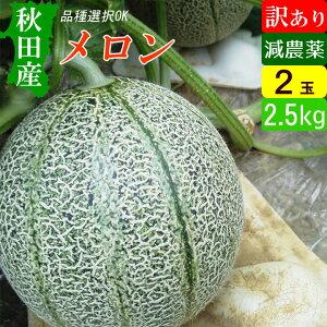 【送料無料】 秋田産 減農薬メロン 訳あり 2玉 アウトレット