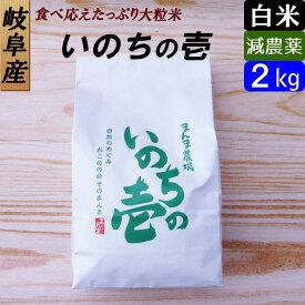 【白米】 岐阜産 いのちの壱 お米2kg 大粒 日本一のお米に選ばれました!減農薬