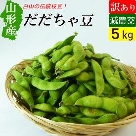 送料無料 山形産 白山 訳あり だだちゃ豆 5kg 減農薬 枝豆 アウトレット