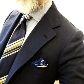 MUNGAI(ムンガイ) ホワイト×ネイビー リネンチーフ レースパイピング ポケットチーフ チーフ イタリア製 ハンドメイド ギフト プレゼント【国内正規品】