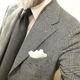 MUNGAI(ムンガイ)ホワイトチーフ リネンチーフ レースパイピング ポケットチーフ チーフ イタリア製 ハンドメイド ギフト プレゼント【国内正規品】
