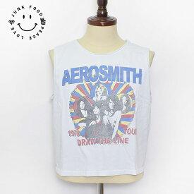 今だけ送料無料!!メール便発送JUNK FOOD/ジャンクフード【AE040-6223】Aerosmith Draw the Line Tour TankエアロスミスドローザラインCrop Muscle TankVintage Whiteレディース タンクトップ