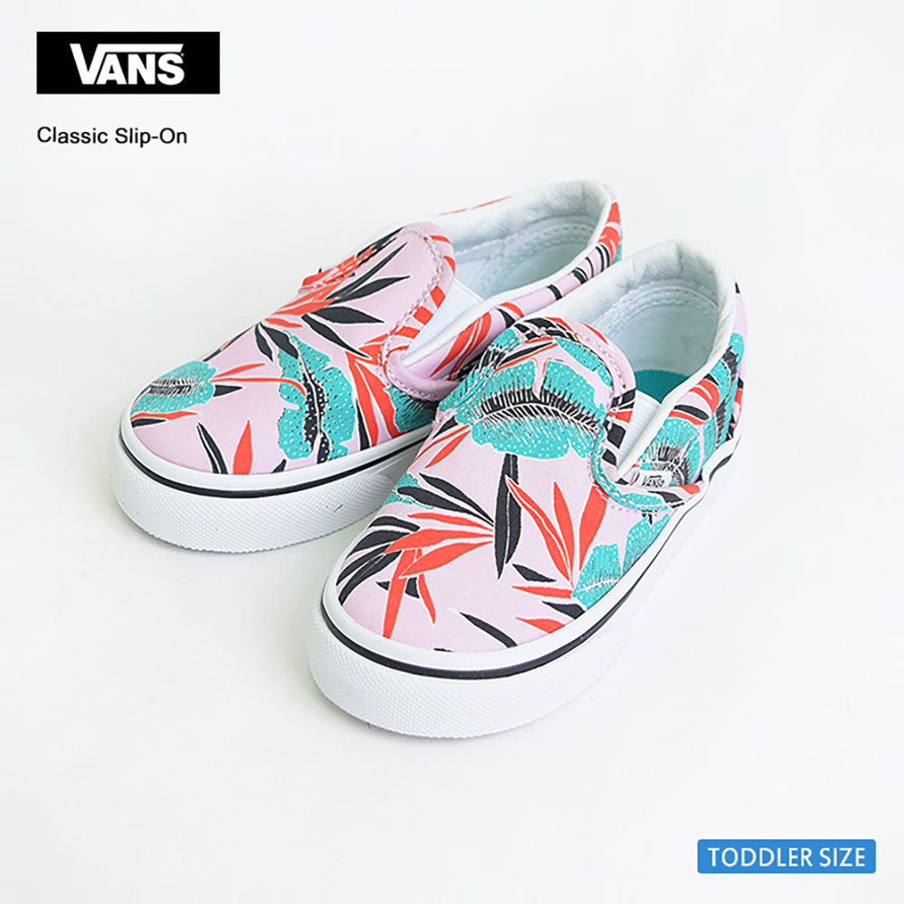 VANS TODOLLERバンズ トドラー【VN0A32QJMQM】TODOLLER CLASSIC SLIP-ON(Tropical Leaves) Pink Ladyバンズ トドラー クラシックスリッポントロピカルリーフ幼児用スニーカー2017SP
