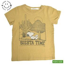 メール便JUNK FOODジャンクフード【PN454-0588K】SIESTA TIME TEEスヌーピー シエスタ タイム TOLIVA オリバ 黄色KIDS キッズ 半袖 Tシャツ Snoopy