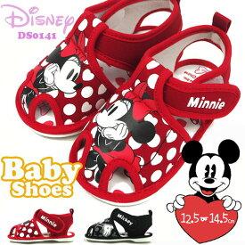 【即納】Disney ディズニー ファーストシューズ DS0141 キッズ ミニーマウス ミニーちゃん ミッキーマウス ミッキー 子供靴 女の子 ガールズ 男の子 ボーイズ お祝い かわいい ドット 軽量 ベビーシューズ ベビーサンダル プレゼント