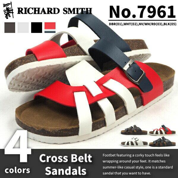 【即納】RICHARD SMITH リチャード・スミス クロスベルトサンダル 7961シリーズ メンズ R.SMITH フットベットサンダル カジュアルサンダル 編み込み コルク風 カップインソール