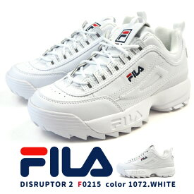 FILA フィラ スニーカー DISRUPTOR 2 F0215 レディース ディスラプター 2 白 ダッドシューズ ホワイト 厚底 シャークソール