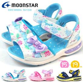 ムーンスター moonstar サンダル SG C528 キッズ 子供靴 フリル リボン 花柄 サマーシューズ スポサン 浴衣 シュガー