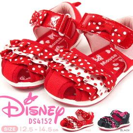 【残り/12.5cmのみ/特価】Disney ディズニー ベビーサンダル キッズ 全2色 DS4152 ミニーマウス ミニーちゃん 子供靴 女の子 ガールズ お祝い かわいい ドット リボン