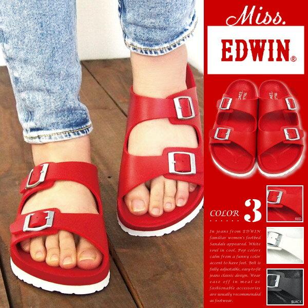 【送料無料】Miss EDWIN ミスエドウィン フットベットサンダル レディース 全3色 EW9401 コンフォートサンダル カジュアル フラット 夏 つっかけ 軽量 サマーシューズ 女の子 女性 婦人