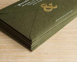 結婚式の招待状用封筒10枚入り 「洋1サイズ・濃緑」【招待状手作り】【高級紙使用】【ブライダル】【ウェディング】【2次会】【洋形1号】