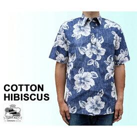 Kona Bay Hawaii/コナベイハワイ アロハシャツ コットン ハイビスカス ハワイ製 青 ブルー