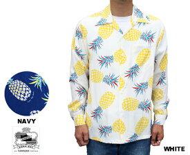 Kona Bay Hawaii コナベイハワイ 長袖アロハシャツ パイナップル PINEAPPLE ハワイ製 レーヨン 白x黄 ホワイトxイエロー ネイビー