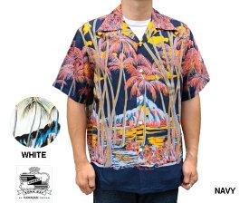 Kona Bay Hawaii コナベイハワイ アロハシャツ ダイヤモンドヘッド ハワイ製 レーヨン ネイビー 白 ホワイト