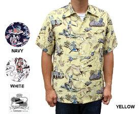 Kona Bay Hawaii コナベイハワイ アロハシャツ ランドオブアロハ LAND OF ALOHA ハワイ製 レーヨン 黄 イエロー ネイビー 白 ホワイト